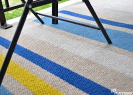 the striped diy rug holds up great outdoors