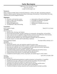 Assembler Resume Sample
