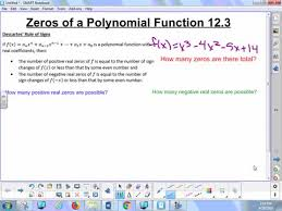 12 3a Lesson Zeros Of A Polynomial Function Whitehouse