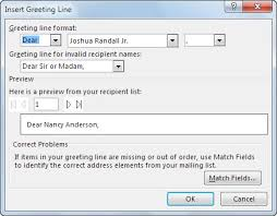 Word Mail Merge Insert Mail Merge Fields Office Support