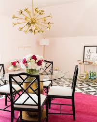 pink and black office with hot pink rug