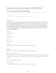 Minutes from the March 2018 MTSU Faculty Senate Meeting