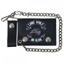 hot leathers lone wolf tri fold wallet
