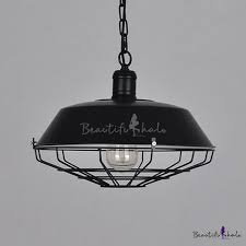 industrial barn pendant light in retro style with 18 11 w metal cage black