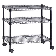 office rolling cart. 3-Shelf Portable Multimedia Cart, Black Office Rolling Cart T
