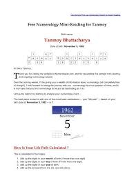 Numerology Birth Chart Reading Free Free Numerology Reading Tanmoy Bhattacharya