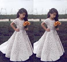 Full Lace White Short Sleeve <b>Girls</b> Wedding Party <b>Dresses 2017</b> ...