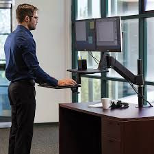 com mount it sit stand desk standing desk height adjule sit to stand workstation monitor laptop and keyboard mount fits 22 23 24