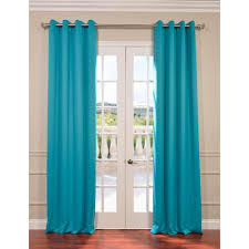 exclusive fabrics furnishings semi opaque turquoise blue grommet blackout curtain 50 in
