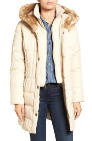 Larry Levine Quilted Down Feather Fill Coat With Faux Fur