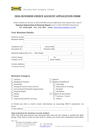 Business Account Application Ikea Business Account Application Form