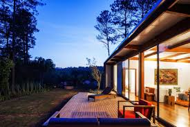summer house lighting. Evening, Lighting, Deck, Glass Walls, Small Summer House In São Roque, Lighting