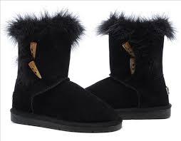UGG Australia 5685 Short Fox Fur Boots For Women Black