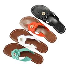 details about new tory burch breely patent flower flat sandals 225