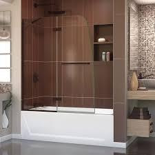 w x 58 h inch frameless hinged tub door