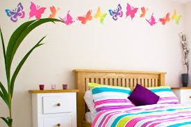 Wall Decor Ideas for Girls Bedrooms with Butterfly Stickers