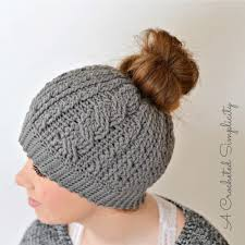 Bun Hat Pattern Gorgeous Cabled Messy Bun Hat AllFreeCrochet