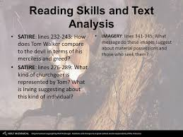 p the devil and tom walker by washington irving ppt reading skills and text analysis satire lines 232 243 how does tom walker