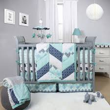 the peanut shell mosaic crib bedding set geometric prints in teal gray and blue 3 piece baby nursery bedding collection com