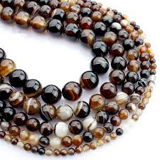 4 <b>6 8 10mm Natural</b> Coffee Brown Stripes Agate <b>Stone</b> Beads <b>Bulk</b> ...