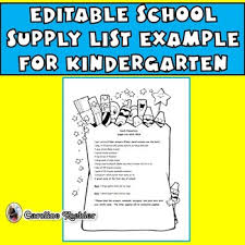 School Supplies List Template School Supply List Example For Kindergarten Editable Download