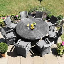 maze rattan garden furniture texas 8 seater round table set in grey