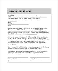 Generic Bill Of Sale Template Business
