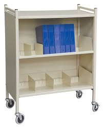 Medical Chart Carts With Vertical Racks Chart Cart Cabinets Multi Purpose Enclosed 3 Shelf