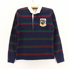 vintage clothing kazzin time recycler 2 000s ralph lauren boys long sleeves horizontal stripe rugby shirt navy base dark blue xs size white day