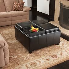 4 tray top black leather storage ottoman coffee table 817056010422