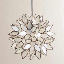 small lotus capiz shell chandelier with chrome finish for home lighting ideas