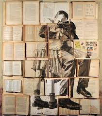 russian artist ekaterina panikanova places old books and other doents together and paints over them to create the most beautiful installations