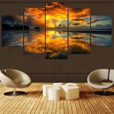 Beautiful Sunrise Moment – Nature 5 Panel Canvas Art Wall Decor – Canvas  Storm