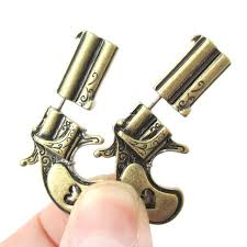 2018 fake double pistol gun bullet faux plug stud earrings for women personalized gift jewelry dropshipping