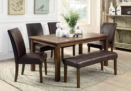 dining room table with upholstered bench. 6 Person Wooden Based Dining Furniture Set With Brown Leather Upholstered Bench And Chairs Also Table Room E