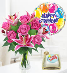 birthday cake and balloons and gifts.  And Rose Lily Balloon U0026 Birthday Cake  Combos 2999  FREE  Chocolates Prestige Flowers On And Balloons Gifts N