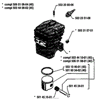 husqvarna 45 1987 01 parts diagrams piston cylinder