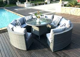 round wicker table outside and chairs rattan outdoor patio garden furniture tabletop runner