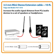 amazon com tripp lite 3 5mm mini stereo audio extension cable for view larger