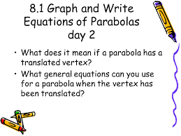 8 1 graph and write equations of parabolas day 2 what does it mean if a parabola