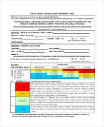 Sample Assessment Form Mental Health Risk Assessment Form 27 Sample Assessment Form
