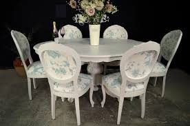 french style dining table with 6 laura ashley upholstered chairs