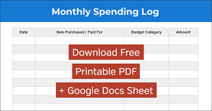 Spending Log Free Monthly Expense Tracking Spreadsheet And
