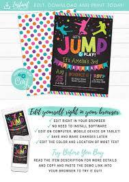 Jump Birthday Invitation Trampoline Party Invite Bounce