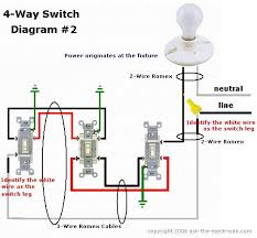 easy to understand wiring for switches this 4 way switch diagram 1 shows the power source starting at the left 3 way switch