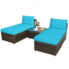 5pcs patio rattan wicker furniture set