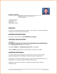 basic resume format word file | Resume Template Example