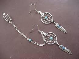 Dream Catcher Helix Earring Turquoise Dream Catcher Asymmetrical Cartilage Helix Chain and 11