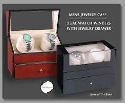 gemday dual watch winder and jewelry case from gem of the day men s watch and jewelry case rotations dual watch winders