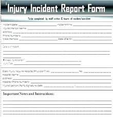 Injury Incident Report Form Template Hr Free For Employee